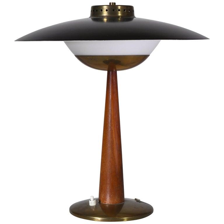 1950s Scandinavian Modern Table Lamp in Brass, Opal Glass and Teakwood For Sale
