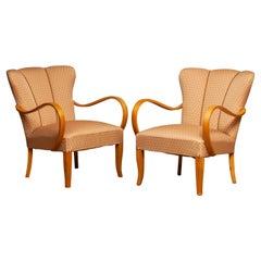 1950's Scandinavian Pair Bentwood Armchairs / Easy Chairs From Sweden in Elm