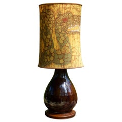 1950s Scandinavian Stoneware Teak Table Lamp Dragon Fabric Shade Midcentury