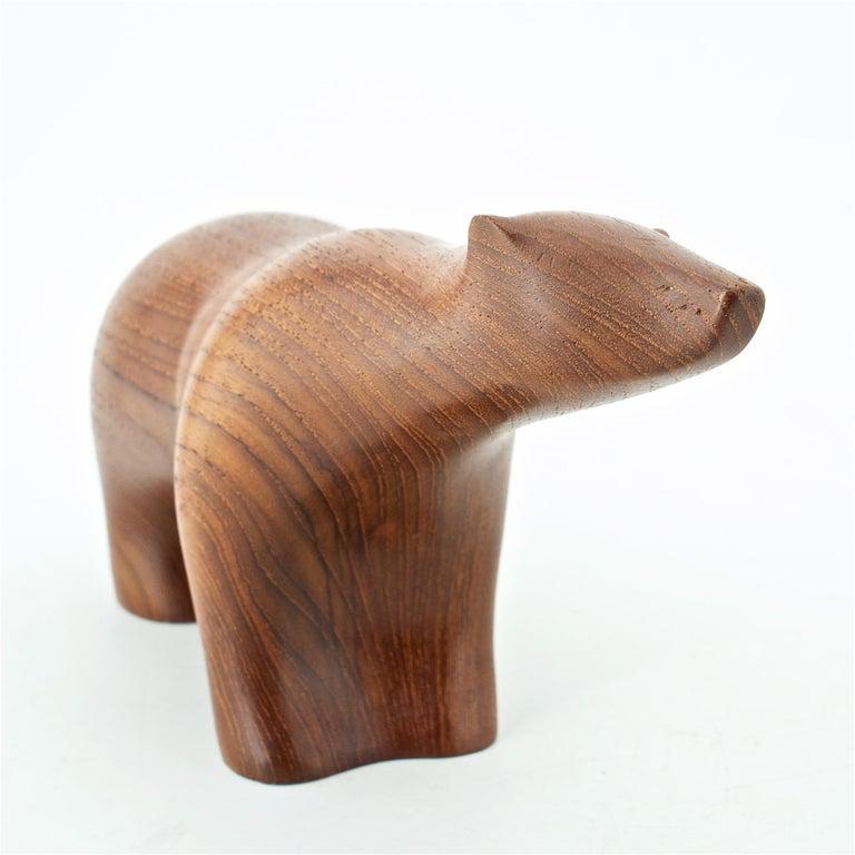 1950s Scandinavian Teak Arctic Polar Bear Figure Sculpture Cabin Modern Danish For Sale 2