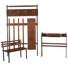 1950s Scandinavian Vintage Consolle, Rack, Bench Entrance Set