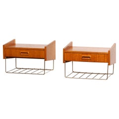 1950's Scandinavian Wall Mounted Bedside Tables / Night Stands in Teak and Brass