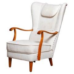 1950's Scandinavian Wingback Lounge Chair By Wilhelm Knoll Malmö Sweden.