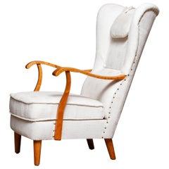 1950s Scandinavian Wingback Lounge Chair by Wilhelm Knoll Malmö Sweden