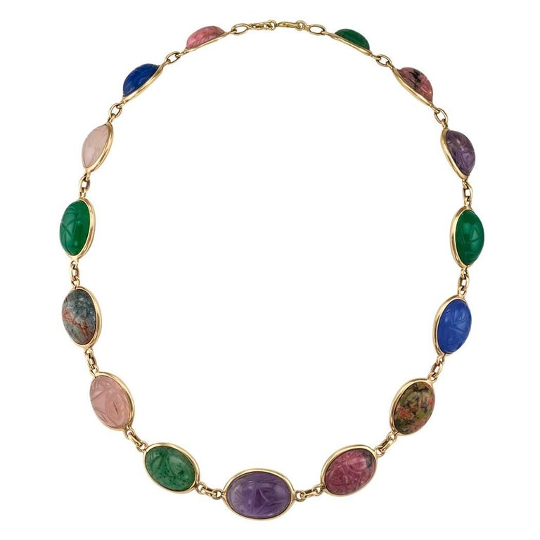 1950s Scarab Gemstone Gold Necklace