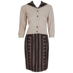 1950's Schiaparelli Beige Cashmere & Striped Wool Sailor-Flap Sweater Ensemble