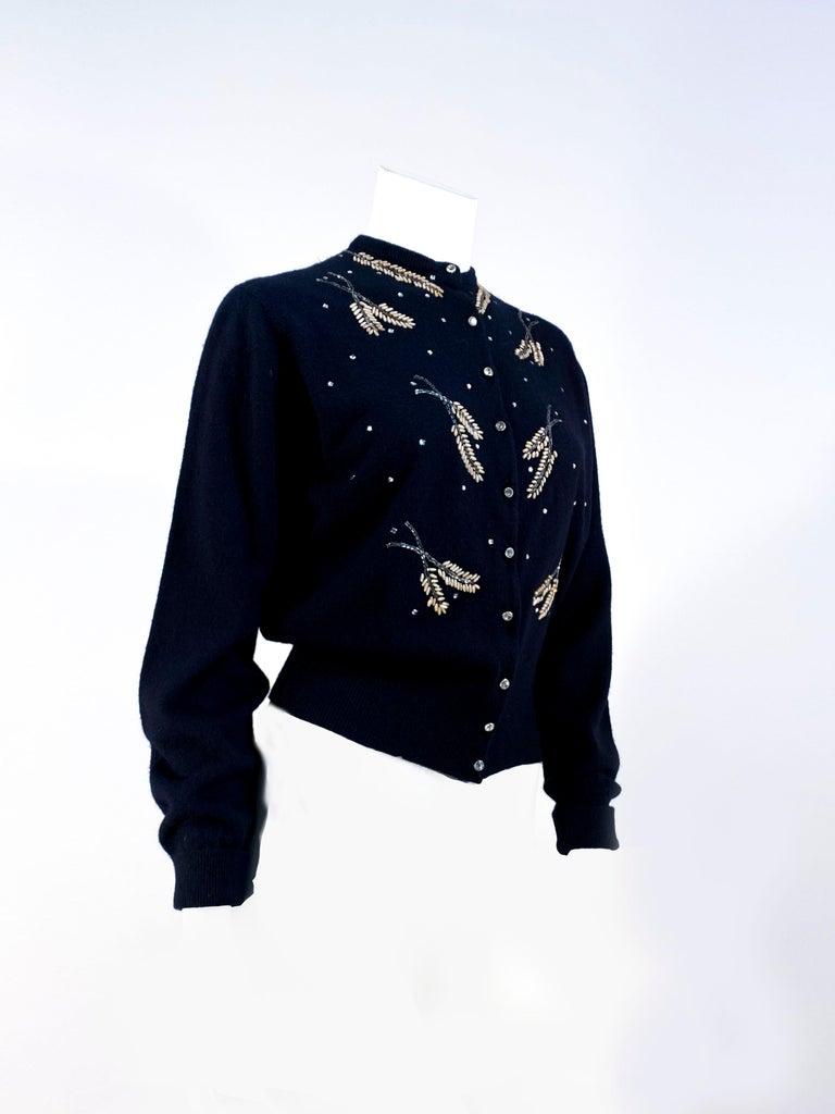 1950s Schiaparelli Black Cashmere Cardigan In Good Condition For Sale In San Francisco, CA