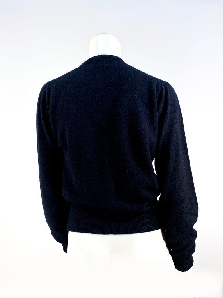 1950s Schiaparelli Black Cashmere Cardigan For Sale 1