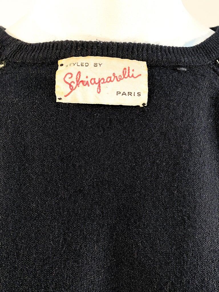 1950s Schiaparelli Black Cashmere Cardigan For Sale 2