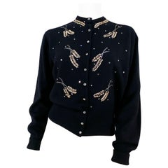 1950s Schiaparelli Black Cashmere Cardigan