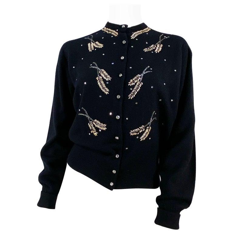 1950s Schiaparelli Black Cashmere Cardigan For Sale