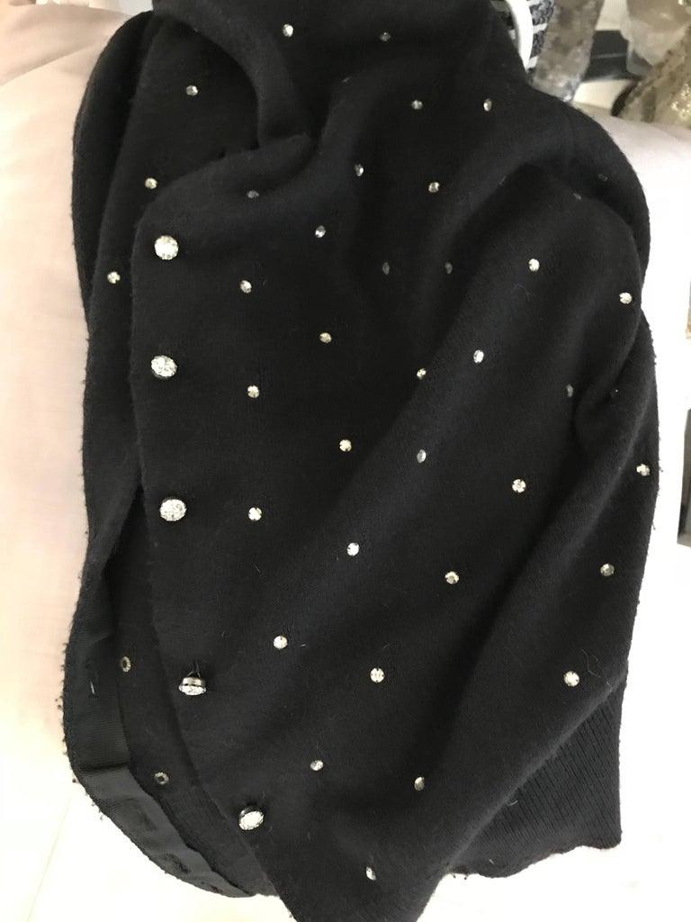 Women's 1950s Schiaparelli Black Cashmere Sweater With Rhinestones Embellishments  For Sale