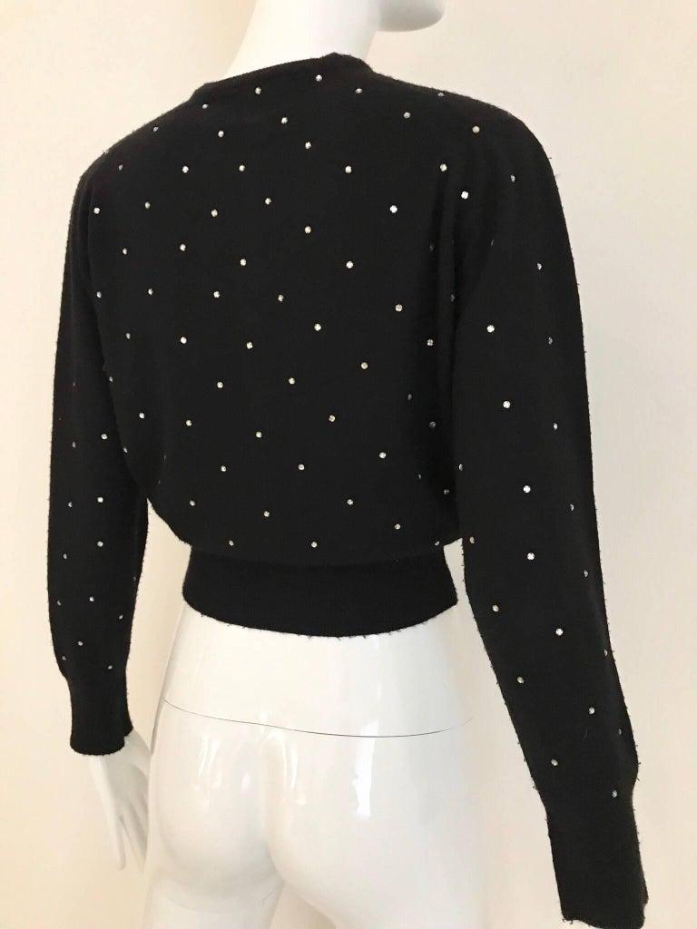 1950s Schiaparelli Black Cashmere Sweater With Rhinestones Embellishments  For Sale 1