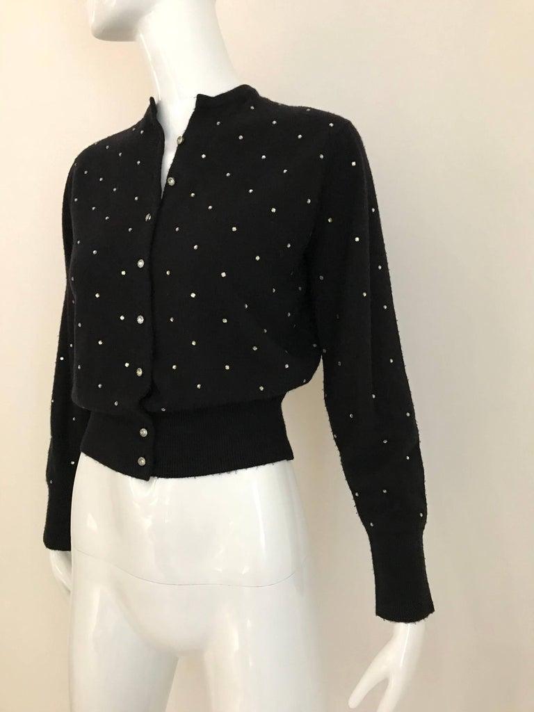 1950s Schiaparelli Black Cashmere Sweater With Rhinestones Embellishments  For Sale 2