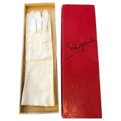 1950s Schiaparelli Unworn White Kid Gloves (7) Never Worn in Original Box
