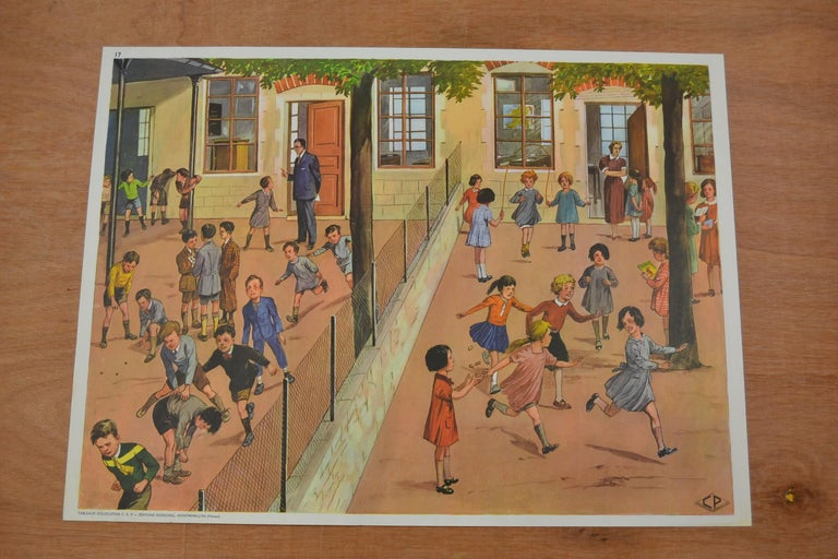 1950s School Chart, at the Playground of a School, by Rossignol, France  For Sale 7