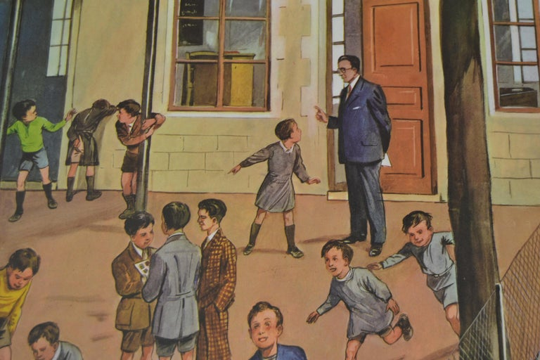 Vintage 1950s school chart - teaching chart - school poster on thick paper. Theme : At the playground of a School  This Old School Teaching Equipment has a very nice detailed view on the activity  of a playground at the school:  At the left the