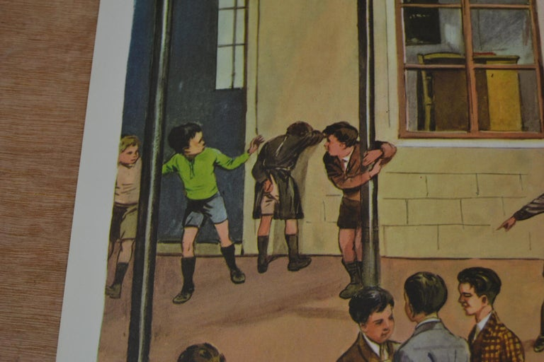 Mid-Century Modern 1950s School Chart, at the Playground of a School, by Rossignol, France  For Sale