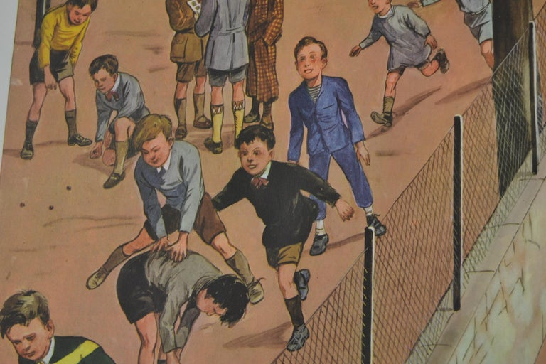 French 1950s School Chart, at the Playground of a School, by Rossignol, France  For Sale