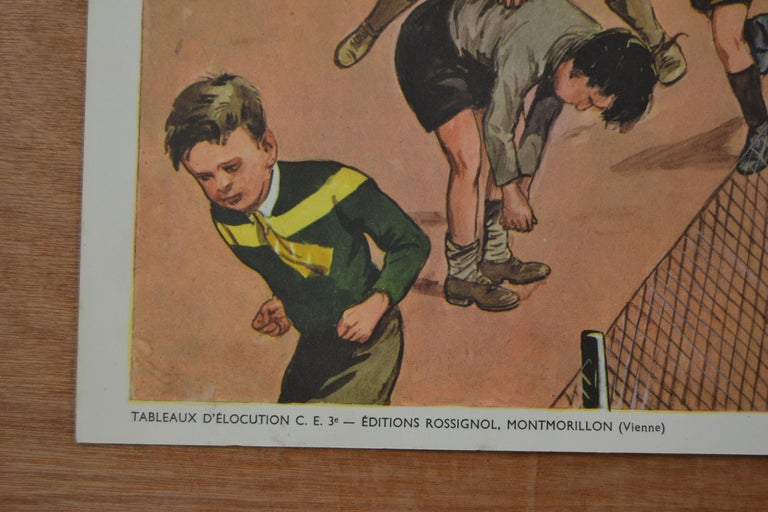 1950s School Chart, at the Playground of a School, by Rossignol, France  In Good Condition For Sale In Antwerp, BE