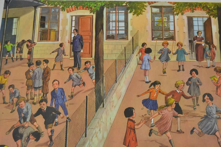 20th Century 1950s School Chart, at the Playground of a School, by Rossignol, France  For Sale