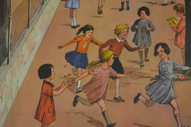 Paper 1950s School Chart, at the Playground of a School, by Rossignol, France  For Sale