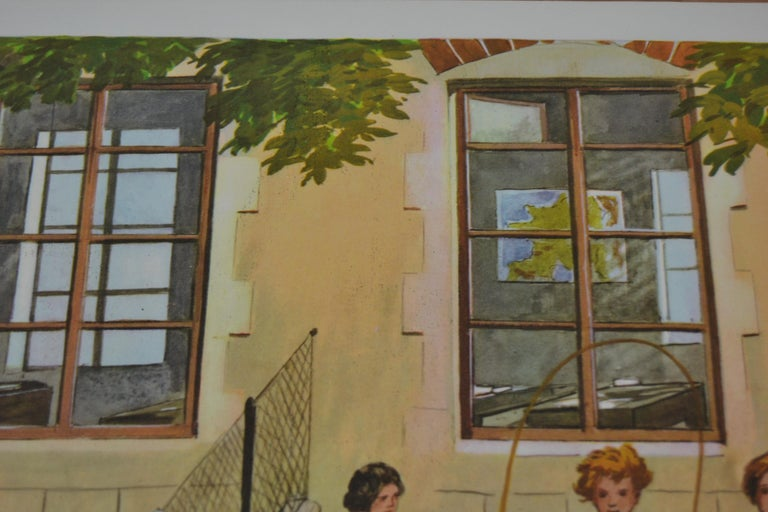 1950s School Chart, at the Playground of a School, by Rossignol, France  For Sale 1