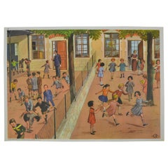 1950s School Chart, at the Playground of a School, by Rossignol, France