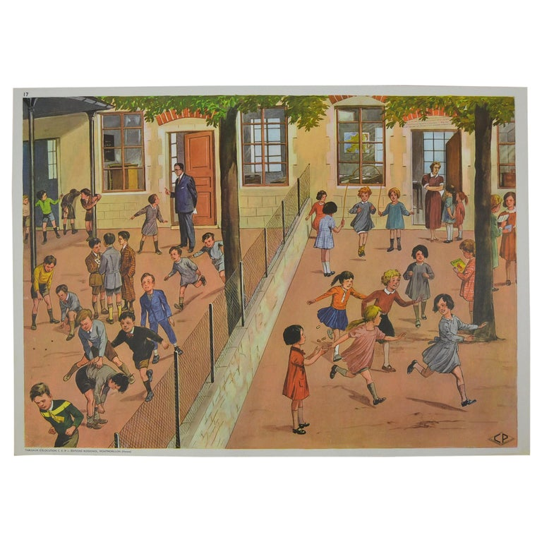 1950s School Chart, at the Playground of a School, by Rossignol, France  For Sale
