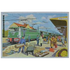 1950s School Chart, At the Railway Station, Rossignol, Henri Mercier