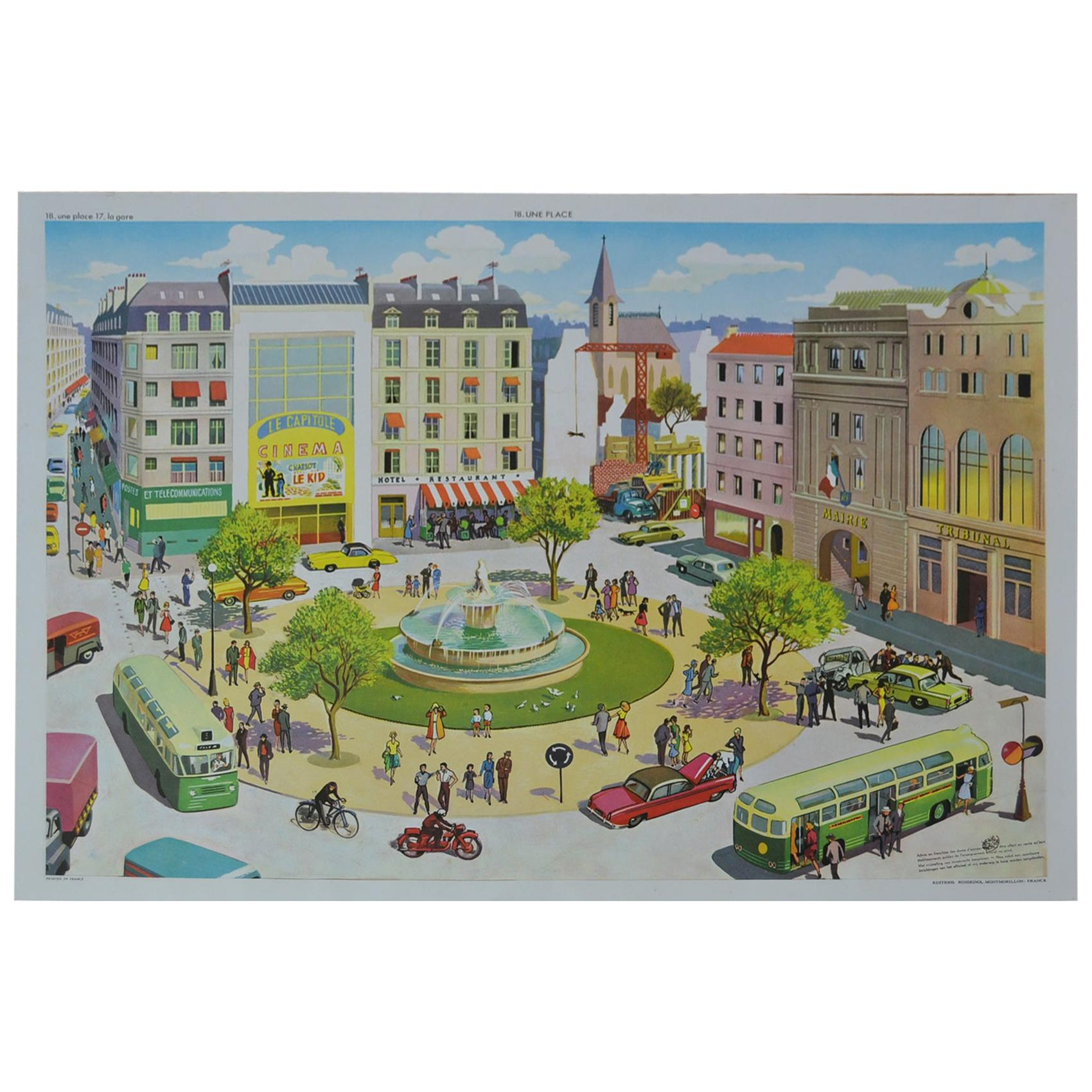1950s School Chart, At the Square, Rossignol, Henri Mercier, France