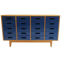 1950s School Chest of Drawers by James Leonard for Esavian Blue