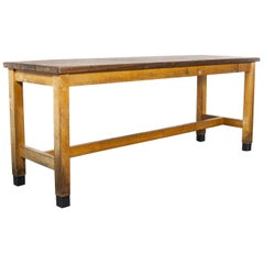 1950s School Laboratory Rectangular Dining Table, Solid Iroko Top