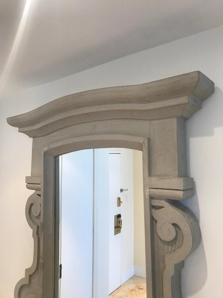 1950's Scrolled Wood Mirror Hand Carved with Distressed Greige Finish, France For Sale 5