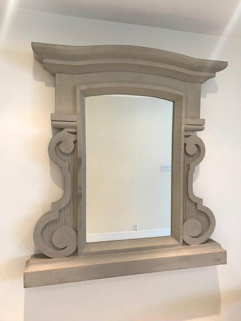 1950's Scrolled Wood Mirror Hand Carved with Distressed Greige Finish, France For Sale 6