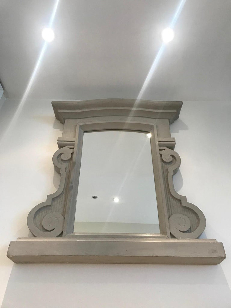French 1950's Scrolled Wood Mirror Hand Carved with Distressed Greige Finish, France For Sale