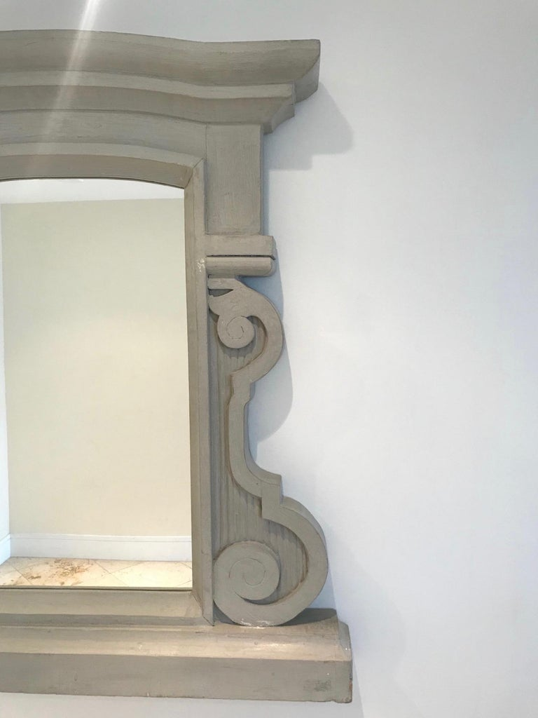 Hand-Carved 1950's Scrolled Wood Mirror Hand Carved with Distressed Greige Finish, France For Sale