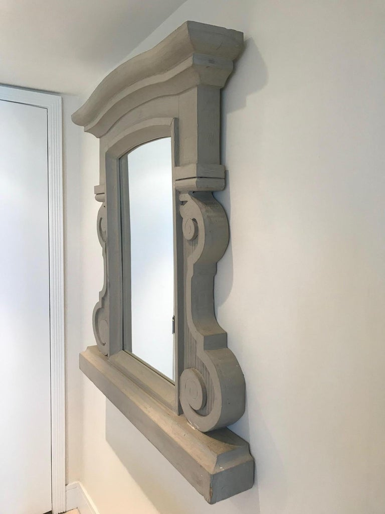 1950's Scrolled Wood Mirror Hand Carved with Distressed Greige Finish, France In Good Condition For Sale In Fort Lauderdale, FL