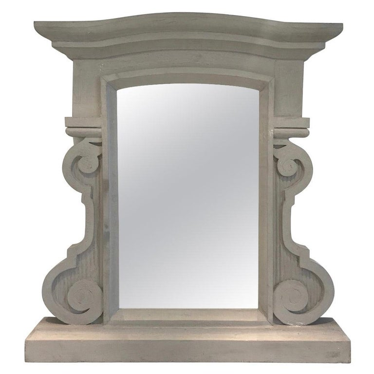 1950's Scrolled Wood Mirror Hand Carved with Distressed Greige Finish, France For Sale