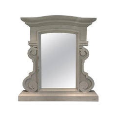 1950's Scrolled Wood Mirror Hand Carved with Distressed Greige Finish, France