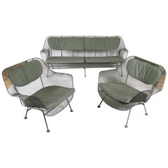 1950s Sculptura Sofa and Pair of Lounge Chairs by Russell Woodard