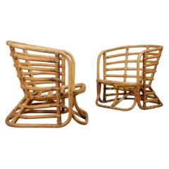 1950's Sculptural Rattan Bamboo Lounge Chairs by Ritts Tropitan