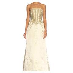 1950S Seafoam Haute Couture Silk Duchess Satin Beaded Strapless Gown