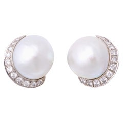 1950s Seaman Schepps Pearl with Diamonds Half Moon Shaped White Gold Earclips