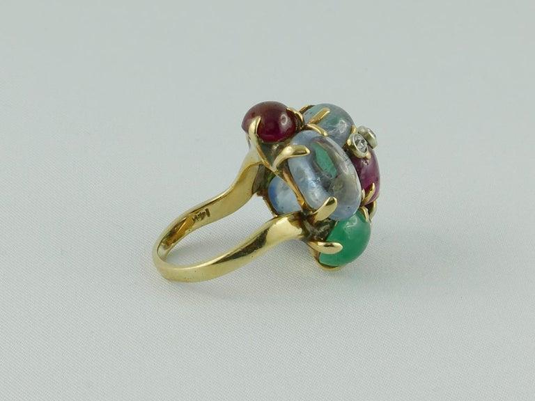 Women's 1950s Seaman Schepps Ring Ruby Emerald Sapphire Diamond 14 Karat Yellow Gold For Sale