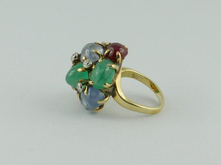 1950s Seaman Schepps Ring Ruby Emerald Sapphire Diamond 14 Karat Yellow Gold For Sale 1