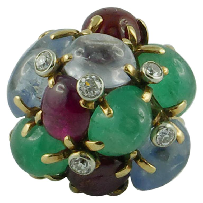 1950s Seaman Schepps Ring Ruby Emerald Sapphire Diamond 14 Karat Yellow Gold For Sale
