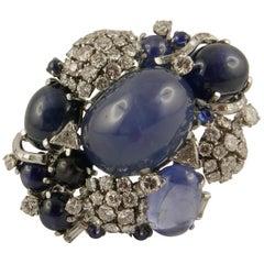 1950s Seaman Schepps Sapphire and Diamond Brooch