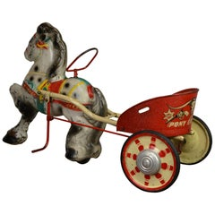 1950s Sebel Mobo Toys Pony Express Pedal Toy, Pressed Steel, U.K.