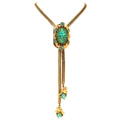 1950'S Selro Style Gold & Lucite 22-K Gold Fleck Bolo Style Necklace